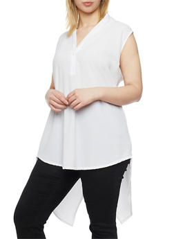Plus Size Sleeveless High Low Top with Split Back - IVORY - 1803038348614