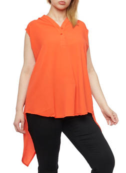 Plus Size Sleeveless High Low Top with Split Back - 1803038348614