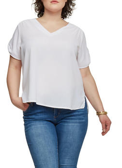Plus Size Crepe High Low Blouse with Tab Short Sleeves - WHITE - 1803038348617