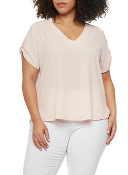 Plus Size Crepe High Low Blouse with Tab Short Sleeves - BLUSH - 1803038348617