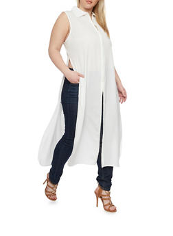 Plus Size Crepe Zip Up Maxi Top with High Side Slits - IVORY - 1803038348618