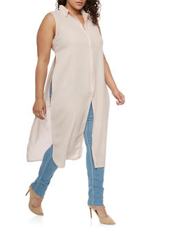 Plus Size Crepe Zip Up Maxi Top with High Side Slits - BLUSH - 1803038348618