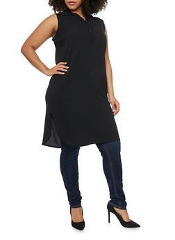 Plus Size Crepe Henley Tunic Top - 1803038348619