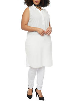Plus Size Crepe Henley Tunic Top - WHITE - 1803038348619
