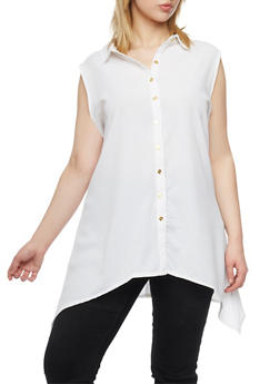 Plus Size Crepe Asymmetrical Top with Back Cutout - IVORY - 1803038348620