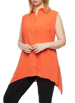 Plus Size Crepe Asymmetrical Top with Back Cutout - 1803038348620