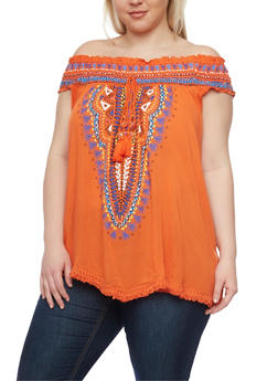 Plus Size Smocked Off the Shoulder Tribal Peasant Top - 1803038348638