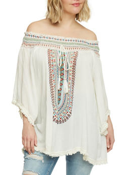 Plus Size Tribal Off the Shoulder Top with Fringe Trim - 1803038348639
