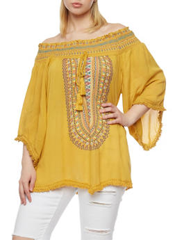 Plus Size Tribal Off the Shoulder Top with Fringe Trim - MUSTARD - 1803038348639