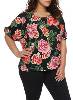 Plus Size Cold Shoulder Floral Top with Necklace - 1803038348648