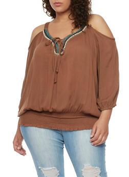 Plus Size Gauzy Cold Shoulder Peasant Top with Beaded Neckline - 1803038348660
