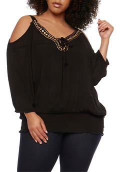 Plus Size Embroidered Cold Shoulder Top - 1803038348661