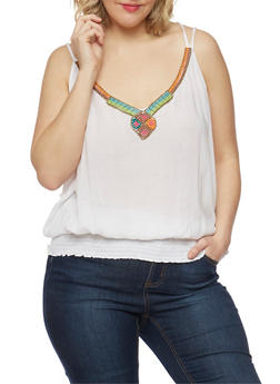 Plus Size Strappy Tank Top with Beaded Neckline - WHITE - 1803038348662