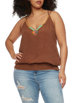 Plus Size Strappy Tank Top with Beaded Neckline - 1803038348662