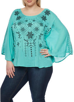 Plus Size Graphic Long Sleeve Top with Caged Back - 1803038348663