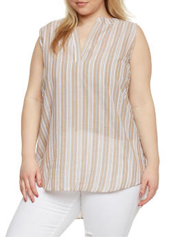 Plus Size Sleeveless Striped V Neck Tunic Top - 1803038348671