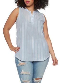 Plus Size Sleeveless Striped V Neck Tunic Top - 1803038348671