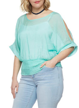 Plus Size Satin Cold Shoulder Top with Smocked Waist - 1803038348672