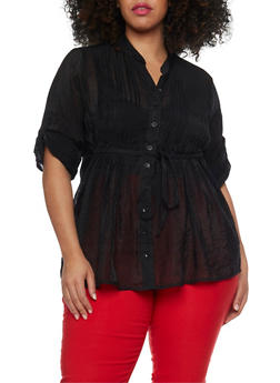 Plus Size Button Front Sheer Tunic with Pleats - 1803038348673