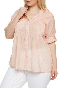 Plus Size Button Front Sheer Tunic with Pleats - BLUSH - 1803038348673