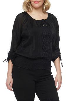 Plus Size Gauzy Tie Sleeve Blouse with Smocked Waist - 1803038348674