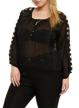 Plus Size Peasant Top with Crochet Cutout Long Sleeves - 1803038348675
