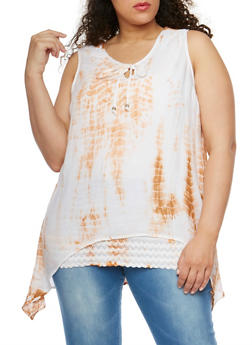Plus Size Tie Dye Sharkbite Tank Top - 1803038348676