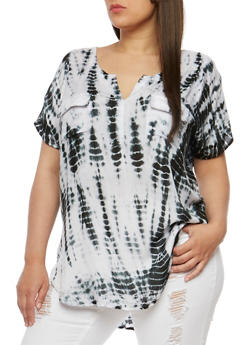 Plus Size Short Sleeve Tie Dye Top - 1803038348677
