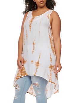 Plus Size Sleeveless Tie Dye Tunic Top - 1803038348678