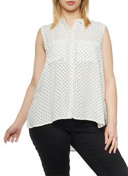 Plus Size Sleeveless Polka Dot Shirt with High Low Hem - 1803038348679
