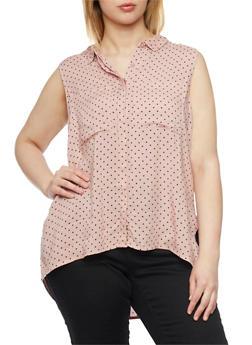 Plus Size Sleeveless Polka Dot Shirt with High Low Hem - BLUSH - 1803038348679