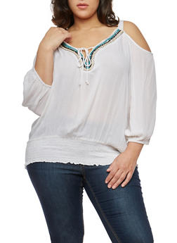 Plus Size Beaded Cold Shoulder Top - 1803038349601