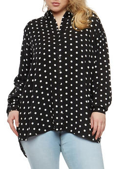 Plus Size Polka Dot Button Front Shirt - BLACK - 1803038349608