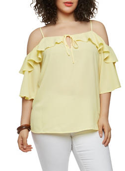 Plus Size Off the Shoulder Ruffle Top - 1803038349612