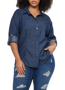 Plus Size Denim Button Up - 1803051060021