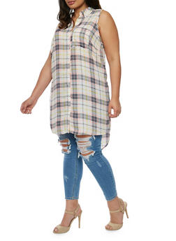 Plus Size Sleeveless Button Front Plaid Shirt - 1803051060068