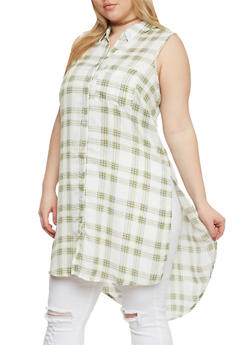 Plus Size Sleeveless Button Front Plaid Shirt - SAGE - 1803051060068