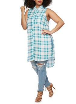 Plus Size Sleeveless Button Front Plaid Shirt - TEAL - 1803051060068