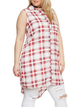 Plus Size Sleeveless Button Front Plaid Shirt - RED - 1803051060068