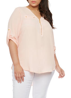 Plus Size ¾ Sleeve Zip Up V Neck Top - 1803051060096