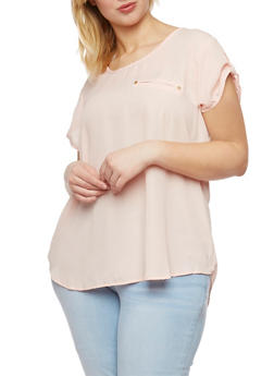Plus Size Short Sleeve High Low Blouse - 1803051060114