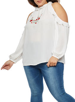 Plus Size Embroidered Ruffled Cold Shoulder Top - 1803051060303