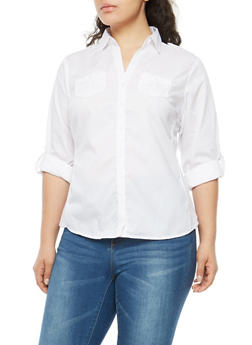 Plus Size Button Front Shirt with Ribbed Panels - WHITE - 1803051060666