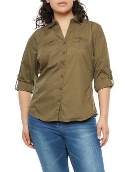 Plus Size Button Front Shirt with Ribbed Panels - OLIVE - 1803051060666