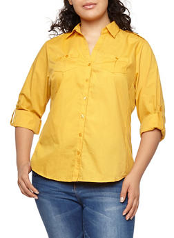 Plus Size Button Front Shirt with Ribbed Panels - 1803051060666