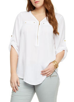Plus Size Zippered Top with High Low Hem - WHITE - 1803051060675