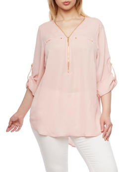 Plus Size Zippered Top with High Low Hem - BLUSH - 1803051060675
