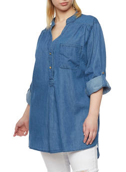 Plus Size Denim Tunic with Tabbed Sleeves - 1803051060682