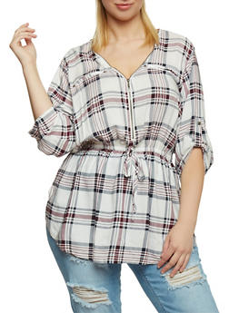 Plus Size Plaid Zip V Neck Top with Tabbed Sleeves - 1803051060685