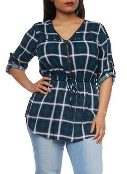Plus Size Plaid Zip V Neck Top with Tabbed Sleeves - RYL BLUE - 1803051060685